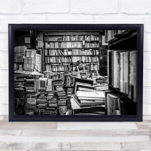 The lady her shelfs Books Book Library Bookshop Shop reading Old Wall Art Print