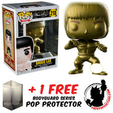 FUNKO POP ENTER THE DRAGON BRUCE LEE GOLD EXCLUSIVE + FREE POP PROTECTOR