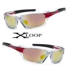 Hot XLoop Men Sunglasses Transpaernt Clear Red Frame and Fire Lens UV400