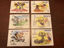 Set of 6 Disney Stamps 1984 Los Angeles Olympics Grenada Mnh Mickey Mouse