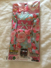 New Japan Pullip Blythe Licca Elly 9'' Doll Beautiful Green Floral Kimono