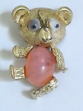VINTAGE TEDDY BEAR GOLD TONE BROOCH WOMEN  LADIES JEWELRY WITH MOVING EYES