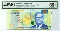BAHAMAS $10 DOLLARS 2016 CENTRAL BANK PICK 79 a GEM UNC LUCKY MONEY VALUE $130