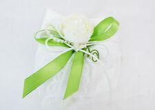 Bomboniera Sacchetto Ricamato Nastro Verde E Bocciolo Fiore wedding