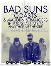 BAD SUNS/COASTS/MAUDLIN STRANGERS 2015 PORTLAND CONCERT TOUR POSTER - Indie Rock