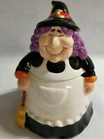 "Small 8"" Embossed Ceramic Candy Cookie Jar Bowl Trick-or-Treat Witch Halloween"