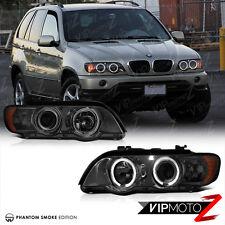 98-03 BMW X5 E53 Titanium Smoke Euro Halo Angel Eyes Projector Headlight Lamps