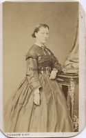 Dagron Parigi Fotografia Primitivo Ritratto Un Donna CDV Vintage Ca 1860