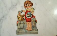 Antique Printed Germany Valentines Day Card Barefoot Youngster Eyes Move!