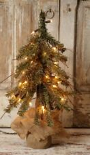 New Primitive Country Christmas Burlap Alpine German Twig Pine Tree White Lights