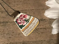 Recycled Broken Porcelain Jewelry, Asian Pink Floral Pendant