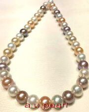 "AAAAA 18""10-11mm REAL South sea natural round Multicolor pearl NECKLACE 14K gold"