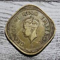 India 2 Annas Coin~1944 George VI~Nickel Brass 5.7g~KM#541a~VFine~#573