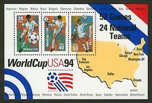 #2837 1994 World Cup Fußball, Souvenir Blatt, Postfrisch Alle 5 =