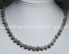 18 inches Labradorite 8MM Real Natural Gemstone Round Beads Necklaces JN747