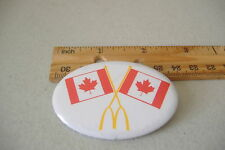 ~MCDONALDS~TWO CANADA FLAGS~OVAL BUTTON PIN~