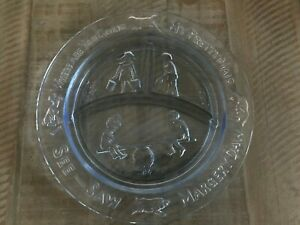 Vintage Blue Glass Mother Goose Child's Nursery Divided  Plate