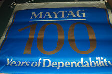 """Vintage MAYTAG Ad Satin Cloth Banner 100 Years of Dependability  32"""" x 32"""" NEW"""
