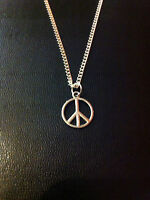 "SILVER PEACE SIGN CHARM NECKLACE PENDANT 18"" CHAIN FREE GIFT BAG UK SELLER"
