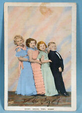 Doll Midget Family Photo Postcard Wizard of Oz Freaks Sideshow Circus 1930-40s