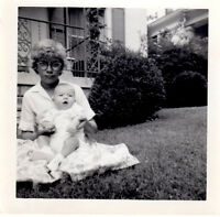 """Girl Holding Baby Outside - Vintage 1960's B&W Photograph 3 1/2"""" x 3 1/2"""""""