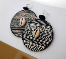 Round Mud Discs, African Earrings, Womens Jewelry, Wooden Jewelry, Tribal Ethnic