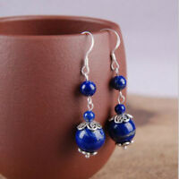 Vintage Blue Lapis Lazuli Gemstone Plated Silver Drop Dangle Earrings Gift 1pair