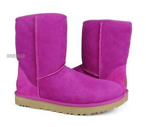 UGG Classic Short II Fuschia Suede Fur Boots Womens Size 8 *NEW*