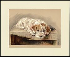 JACK RUSSELL WIRE FOX TERRIER BAGGAGE LITTLE DOG PRINT MOUNTED READY TO FRAME