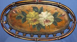 Vintage orate metal hand painted floral platter tray