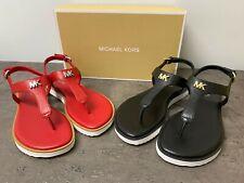 NEW Michael Kors Brady Thong Flat Sandals 6,6.5,7.5 Black Red MK Logo