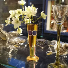 Small Art Nouveau Trumpets Vase IN Gold Plated Glas And Enamel
