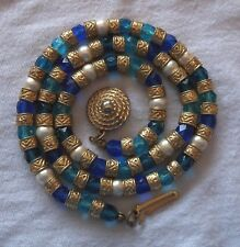 Estate Vintage Egyptian Revival Necklace Gold Pearl Blue & Aqua Glass Beads 18""