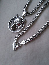 Silver Sterling 925 WOLF Fenrir PENDANT with Solid Sterling Silver CHAIN