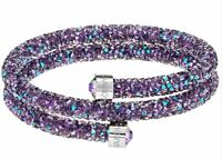 New in Box $89 Swarovski Crystaldust Double Bracelet Purple Size Medium #5385843