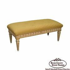 Vintage Regency Style Gilt Painted Wood Tufted Window Bench