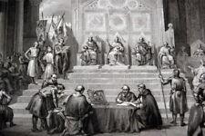 LOUIS VII CONRAD BAUDOUIN III GUERRE SAINTE PTOLEMAIS 1148 GRAVURE 1838 R2625