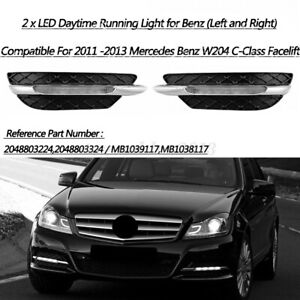 2x LED DRL Fog Light Lamp Cover for Mercedes Benz C-Class W204 C300 2011-2013