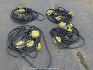Lot of (4) Generator Power Cord Stringers 3 Outlet 125V Extension Cords bidadoo