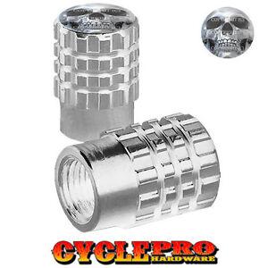 2 Silver Billet Knurled Tire Valve Cap Motorcycle - CHROME SKULL - 028