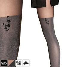 NEW Gatta Suspender Stockings Tights Patterned Opaque Pantyhose 20/60 den S M L