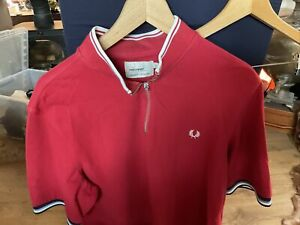 Mens Fred Perry Neck Zip Top RED XL