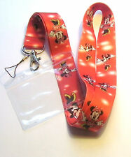 * Disney Lanyard ' Minnie Mouse ' With Passholder Red * Cell Phone * ID Key * UK