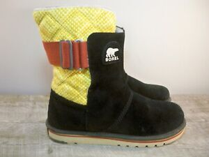 Sorel Womens NL2070 Newbie Suede Black Leather Snow Winter Bootie Boots Size 8.5