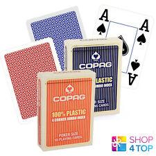 2 DECKS COPAG 4 CORNER JUMBO INDEX 100% PLASTIC POKER CARDS 1 RED 1 BLUE NEW