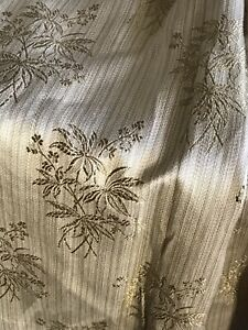 Vintage Triple Pleat Gold Embroidered Bamboo Motif Curtains- 150cmwx128cmL