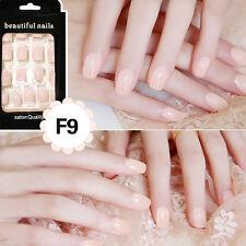 24pcs Nail Tip Artificial False Acrylic Design Fake French Full Nails Art Set