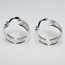 925 Sterling Silver Plated Women Fashion Hoop Studs Dangle Earrings Jewelry E005