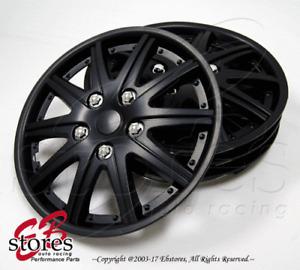 "4pc Set 14 inch Wheel Rim Skin Cover Hubcap Hub caps (14"" Matte Black Style#027)"