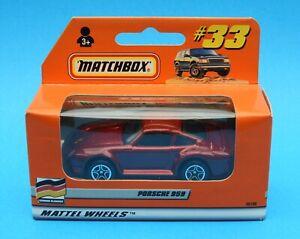 Year 2000 Matchbox 1-75 Series car No. 33: Porsche 959 in Metallic Maroon